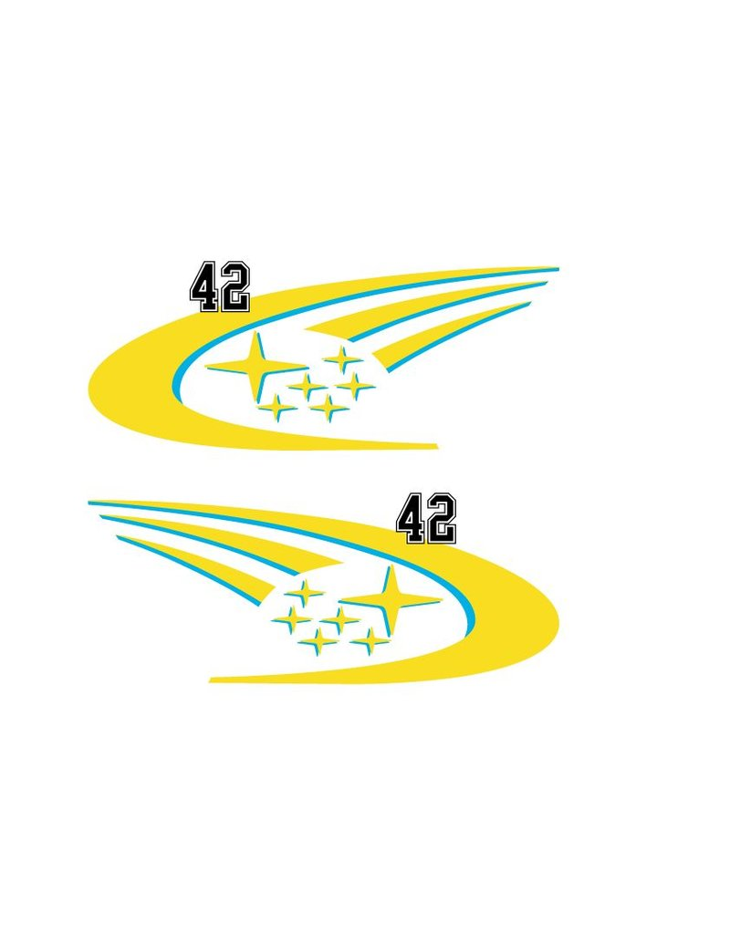 Car Sticker Rally number 6 (set of 2 stickers)