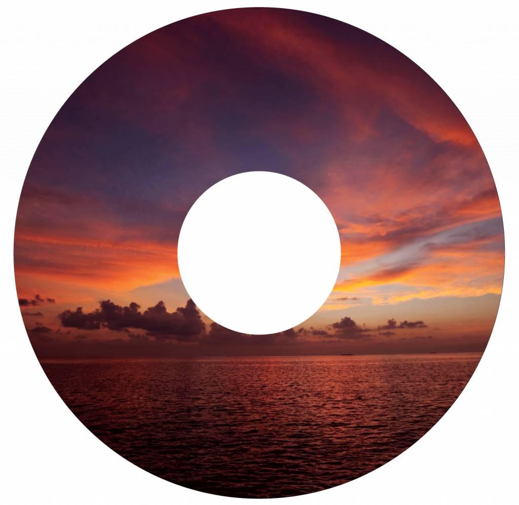 Pegatina protector de radios la puesta del sol roja