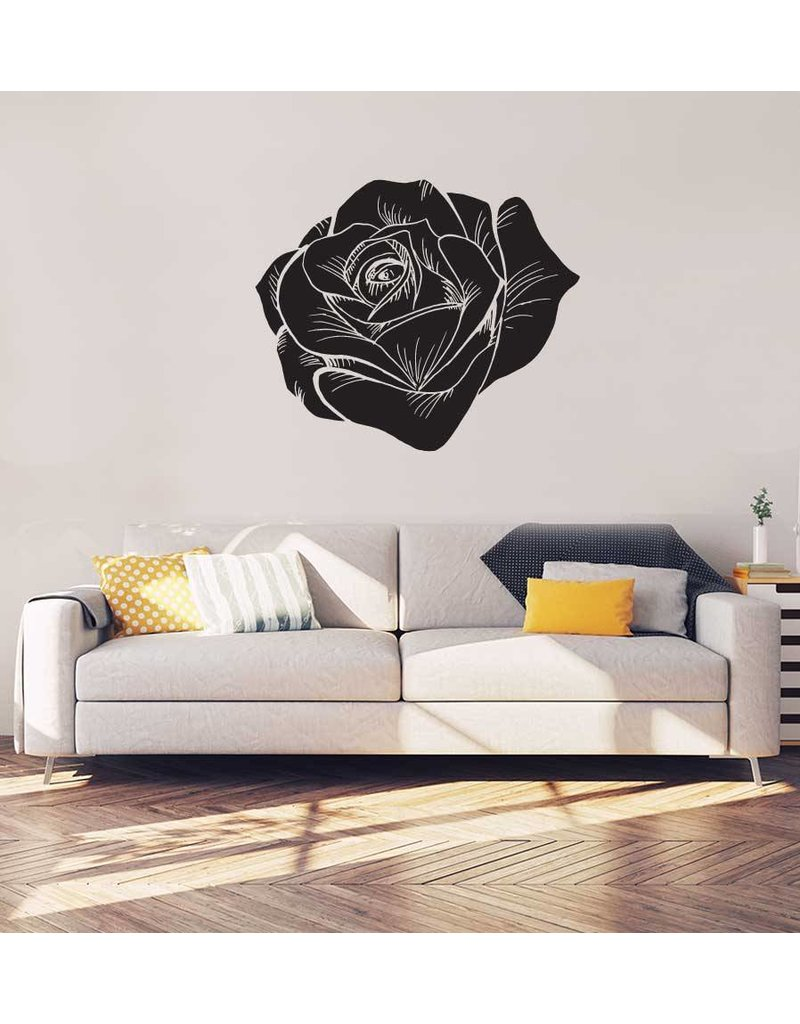 Rose noir intérieur autocollant