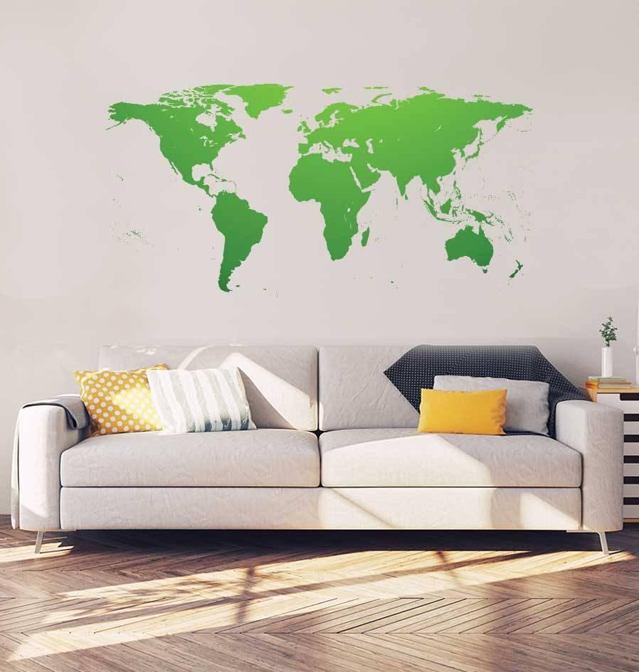 Weltkarte Inneneinrichtung Aufkleber