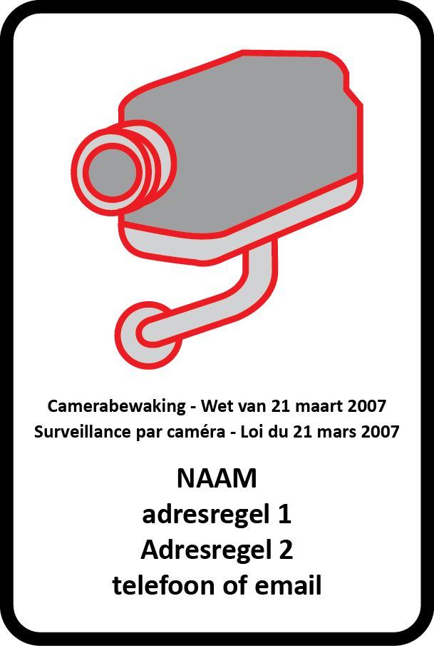 Camera surveillance sticker (according to Belgian legislation)