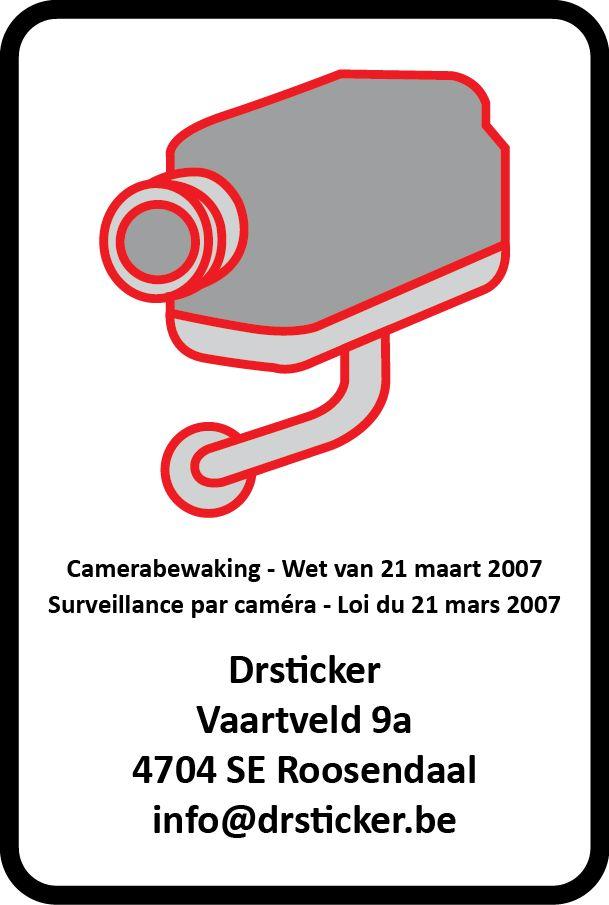 etiqueta de circuito cerrado de televisión (de acuerdo a la legislación belga)