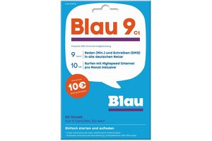 Blau Blau Prepaid Karte 9 Cent - 10 Euro Startguthaben