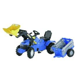 New Holland Rolly Toys rollyFarmtrac New Holland TM175 traptrekker met voorlader en aanhanger