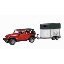 Jeep Bruder Jeep Wranger Unlimited Rubicon met paardentrailer en paard