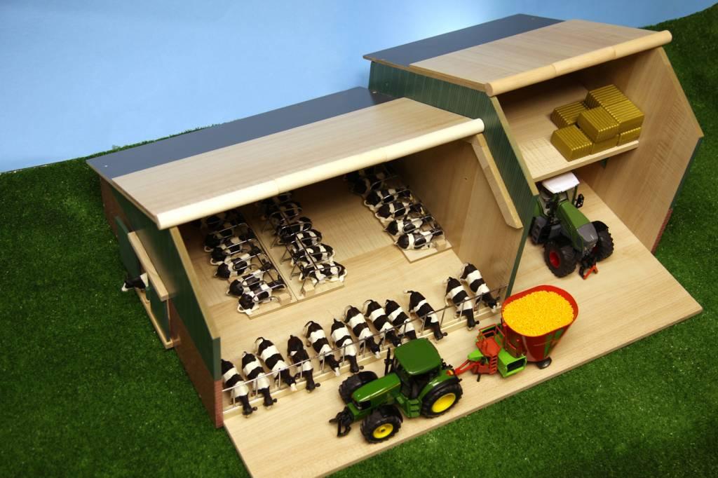 Kids Globe Stal met landbouwloods 1:32