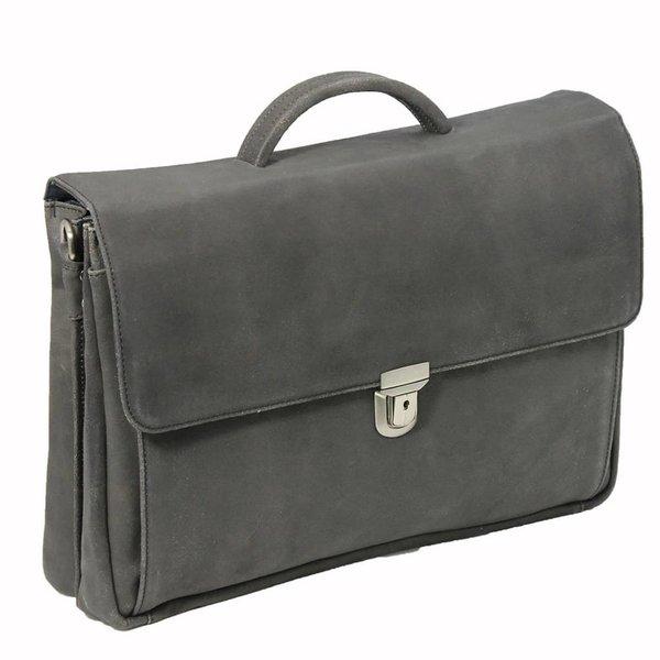 Plover-Schwarz-Leder-Laptop-Tasche