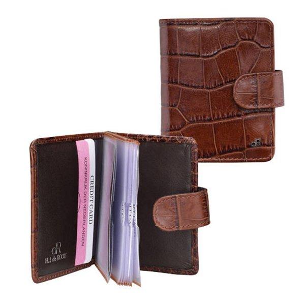 dR Amsterdam Kreditkarte Tasche Croco Chestnut