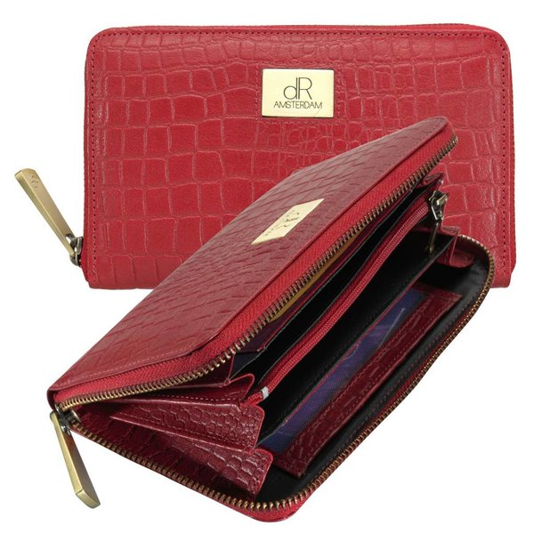 dR Amsterdam Wallet Croco Red Buff