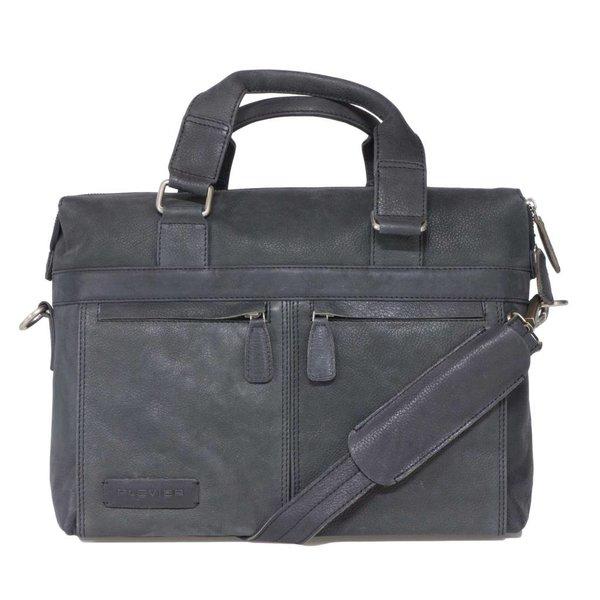 Plover black leather laptop bag