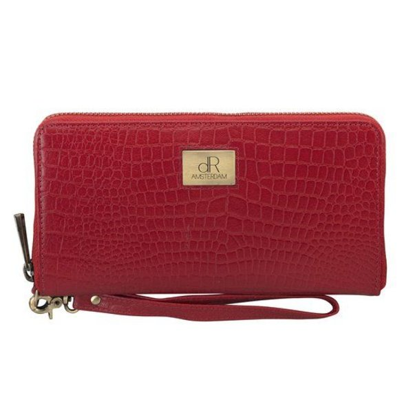 dR Amsterdam Wallet Croco Red Buff