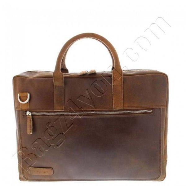 """Plevier Business/laptoptas vintage rundleer 2-vaks 15.6"""" Dark Brown 38"""