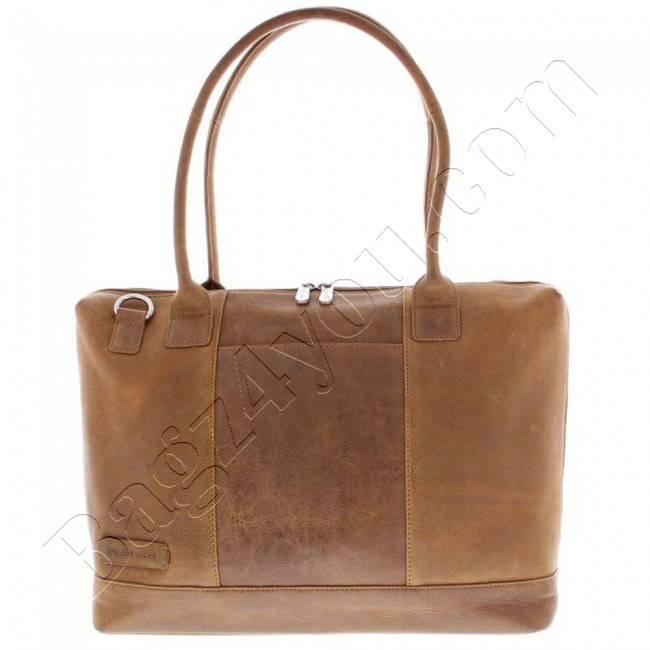 Plevier Business/laptoptas dames volnerf rundleer 1-vaks 15.6 Cognac 475
