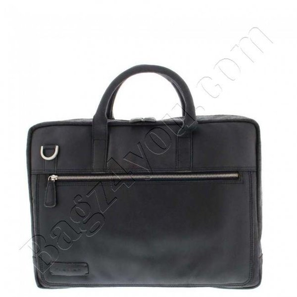 """Plover Gewerbe- / Laptop-Tasche Vintage-Leder 2 Fächer 15.6 """"Black 38"""