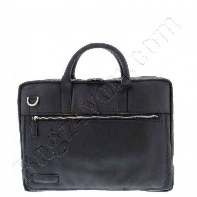 Plevier Business/laptoptas vintage rundleer 2-vaks 15.6″ Black 38