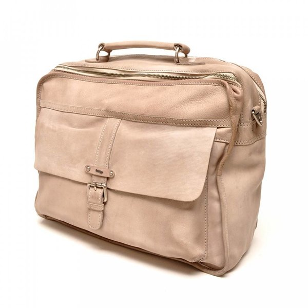 """Berba two-compartment 15 """"Leather Business Bag Arosa Stone 276-014-75"""