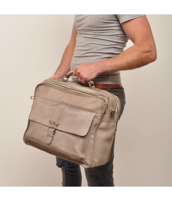 "Berba Berba Zweifach 15 ""Business Leather Bag Arosa Stein 276-014-75"