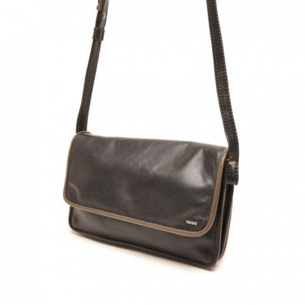 Berba Leder Crossover Damen Tasche Weiche 005-562-14 Schwarz Taupe