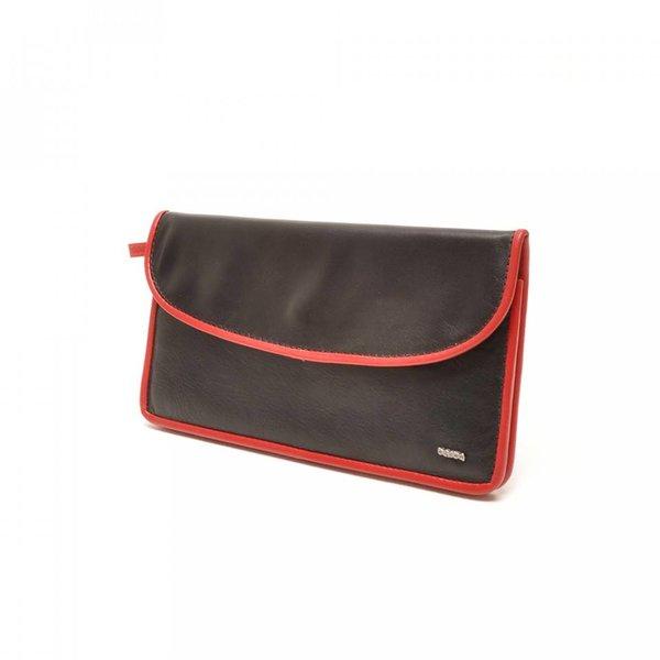 Berba Leren damesportemonnee Soft 001-164-15 Zwart- Rood