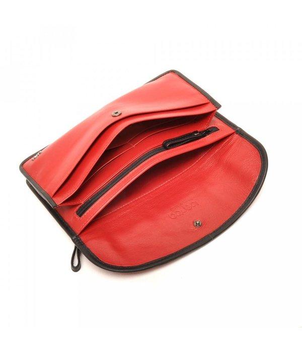 Berba Berba Leder Damen Portemonnaie Weiche 001-164-35 Red- Schwarz