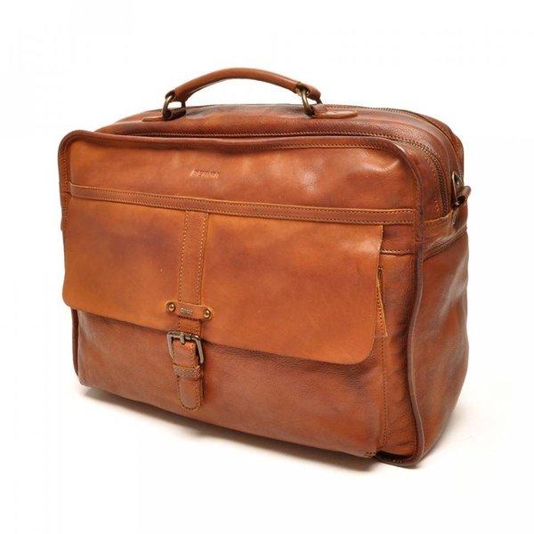 "Berba Zweifach 15 ""Business Leather Bag Arosa 276-014-11 Cognac"