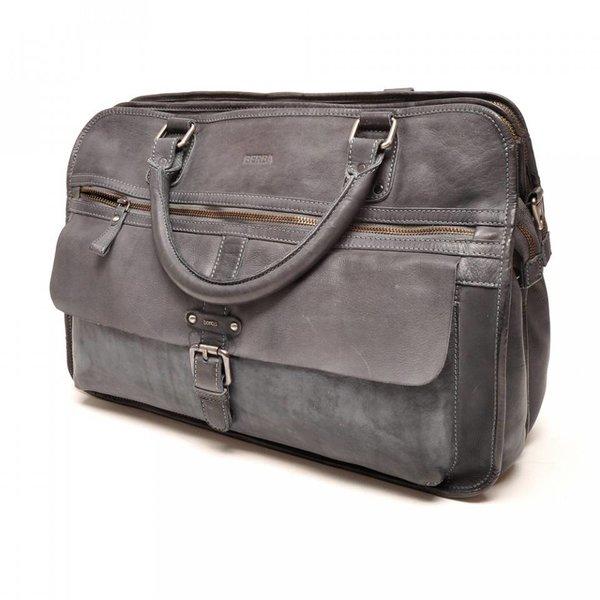 Berba two-compartment 15 inches AROSA Leatherbag 276-017-39 Dark / Grey