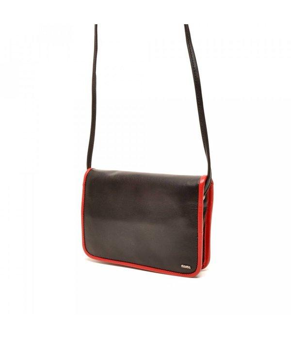 Berba Berba Leder Damentasche Weiche 005-505-15 Schwarz-Rot