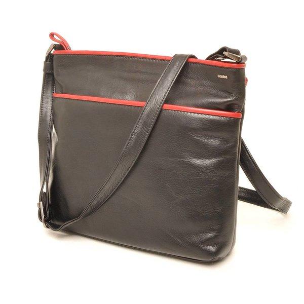 Berba Soft-Crossover-Reißverschlusstasche 005-440 Schwarz / Rot
