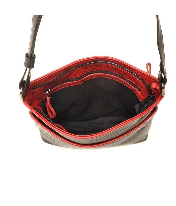 Berba Berba Soft-Crossover-Reißverschlusstasche 005-440 Schwarz / Rot