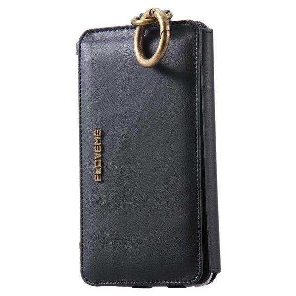 Luxe Portemonnee/Iphone Houder Floveme voor Iphone 7 Plus/ 7S Plus / 6S Plus/ 6 Plus Zwart