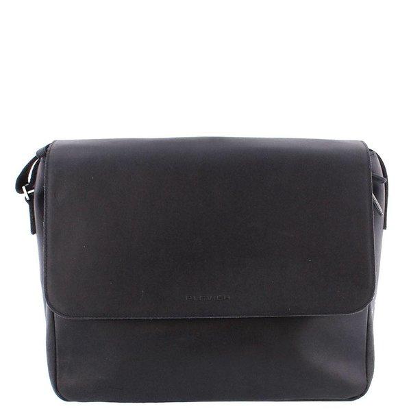 Plevier Black Leather Laptop Bag