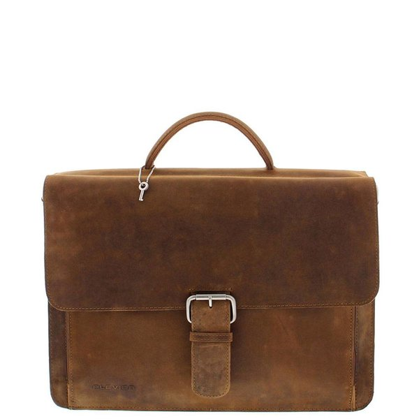 Plevier leather business / laptop bag dark brown