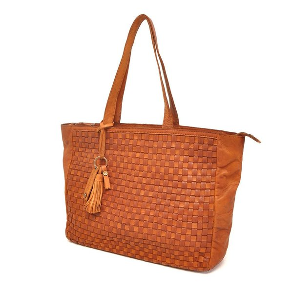LEATHER SHOPPER BARBAROSSA NASTRI 815-236-11 Cognac