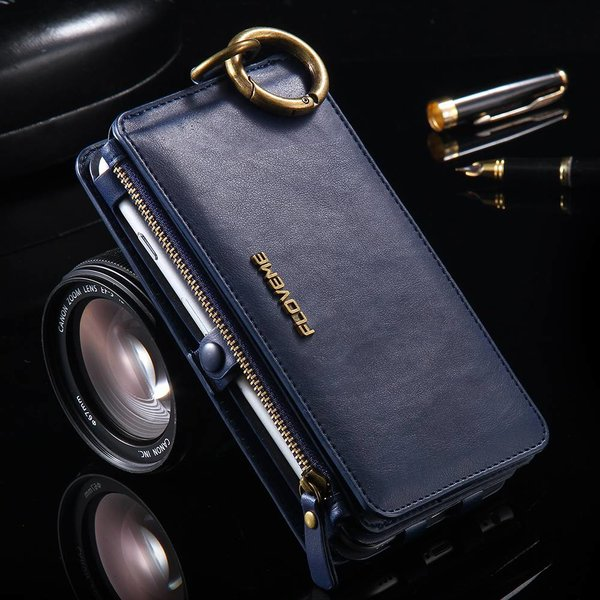 Luxurious leather wallet / Iphone Holder Floveme for iPhone 7 Plus / Plus 7S / 6S Plus / 6 Plus Blau