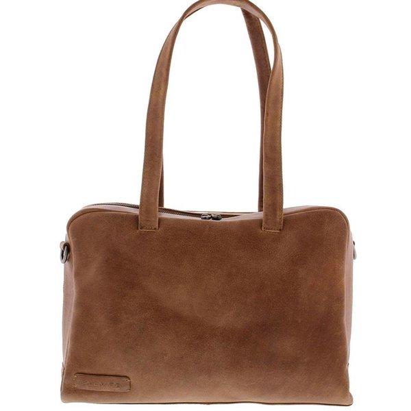 Plevier Damen-Laptop-Tasche aus Vollleder 1 Fach 14 inch Cognac 703-3