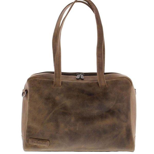 Damen-Laptop-Tasche aus Vollleder 1 Fach 14 inch Taupe 703 - 6