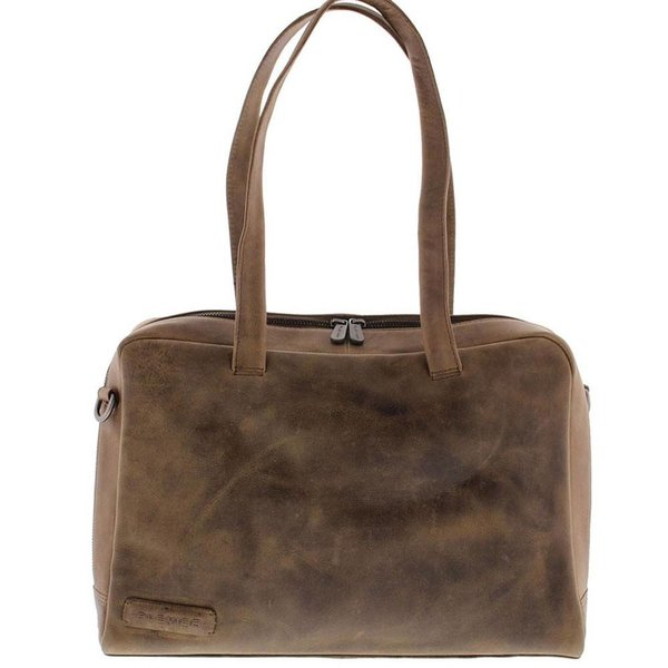 "Plevier Ladies Laptop Bag Full grain Leather 1 compartment 14 "" Taupe 703 - 6"
