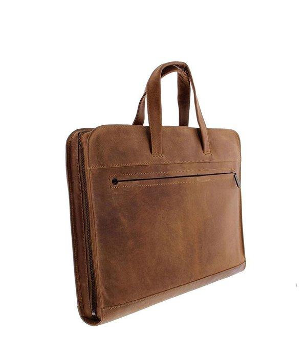 """Plevier Laptop Sleeve/Tas Volnerf Rundleer 1-vaks 15""""-15.6"""" Cognac 704-3"""