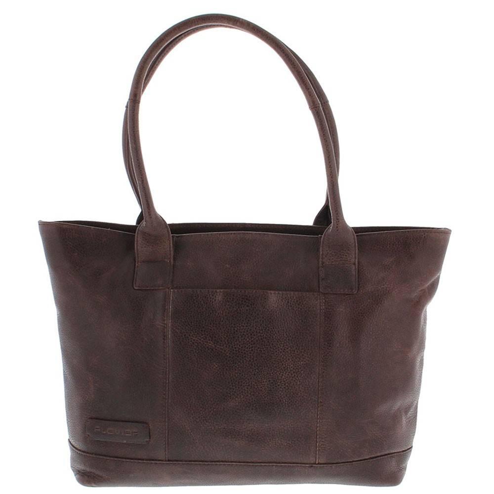 Tote Laptop Bag Dames Volnerf Rundleer 2-vaks 14-15 Dark Brown 481