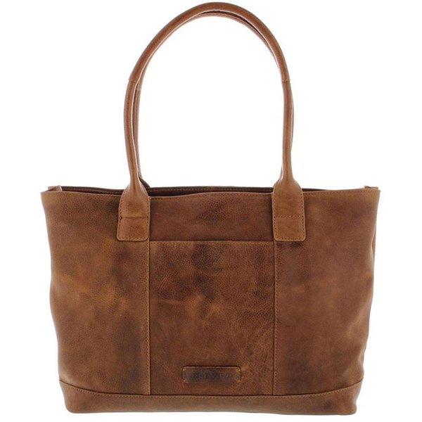 """Tote Laptop Bag Dames Volnerf Rundleer 2-vaks 14""""-15"""" Cognac 481-3"""