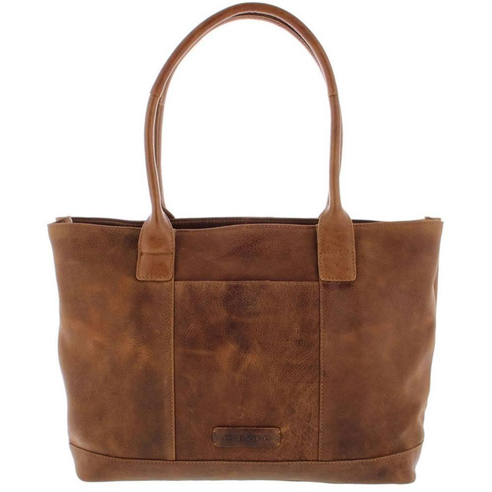 Tote Laptop Bag Dames Volnerf Rundleer 2-vaks 14-15 Cognac 481-3