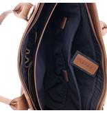 """Plevier Tote Laptop Bag Dames Volnerf Rundleer 2-vaks 14""""-15"""" Cognac 481-3"""