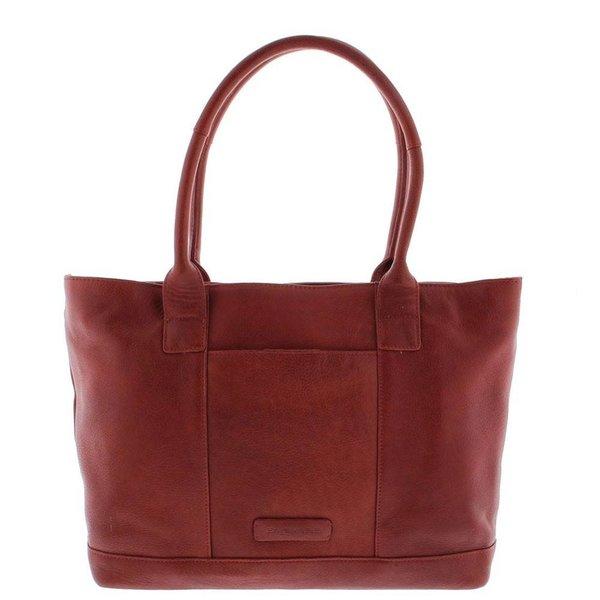 """Tote Laptop Bag Dames Volnerf Rundleer 2-vaks 14""""-15"""" Red 481"""