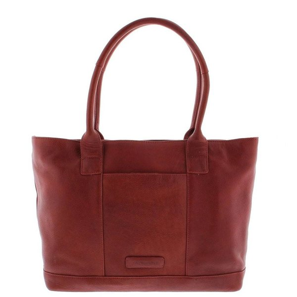 "Tote Laptop Bag Ladies Full Grain Cowhide 2-compartment 14 ""-15"" Red 481"