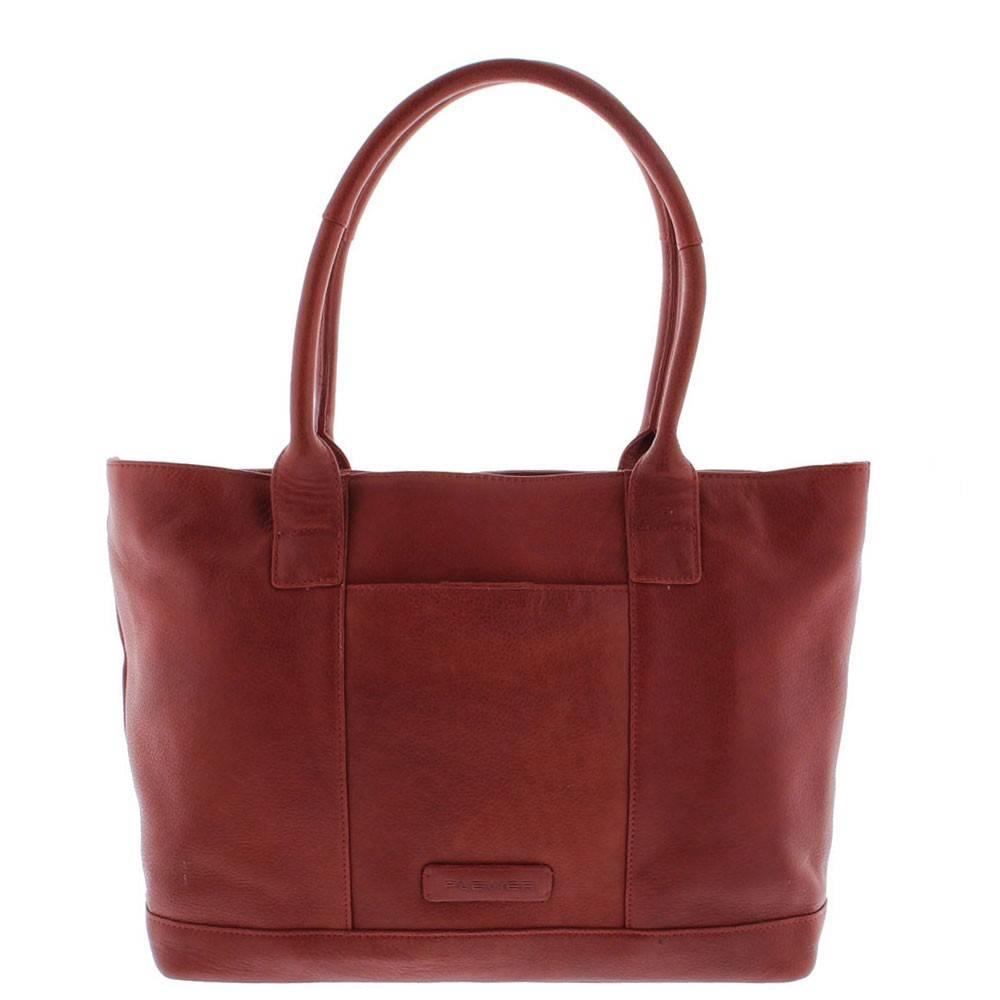 Tote Laptop Bag Dames Volnerf Rundleer 2-vaks 14-15 Red 481