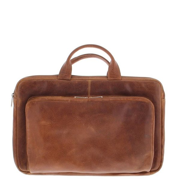Laptop Sleeve Full grain cowhide leather 17.3 Inch with organizer front pocket Cognac 495-3