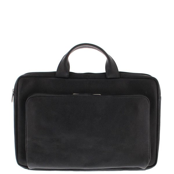 Laptop Sleeve Full grain cowhide leather 17.3 Inch with organizer front pocket Black 495-1