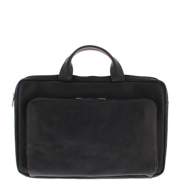 Laptop Sleeve Vollnarbenleder 17.3 Inch mit Organizer Tasche Schwarz 495-1