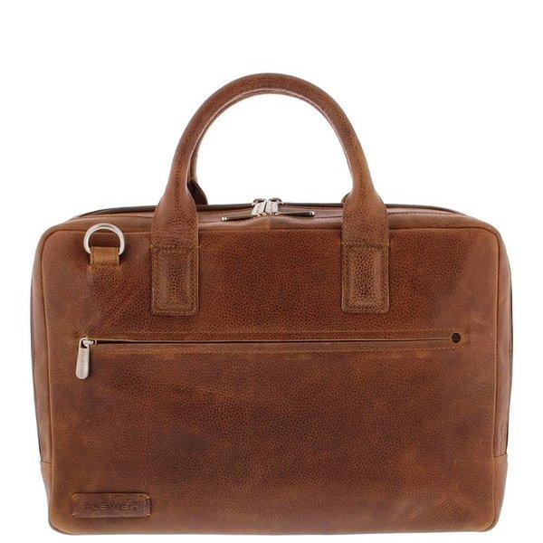 """Plevier Toploader Laptop bag Full grain Cowhide 2 compartments 15.6 """"Cognac 482-3"""