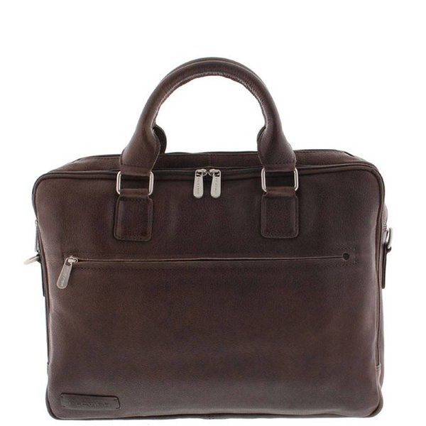 "Plevier Toploader Laptop bag Full grain Cowhide 2 compartments 15.6 "" Dark Brown 482"